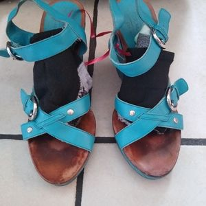 Coach blue wedges